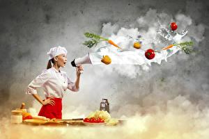 Фотографии Овощи Оригинальные Повар Униформа Мегафон Девушки