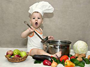 Обои для рабочего стола Овощи Фрукты Мальчик Повар В шапке Дети