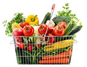 Картинка Овощи Фрукты Кукуруза Томаты Морковь Белый Корзины Продукты питания