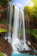 Фотография Водопады Камень Утес Природа