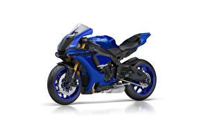 Фотография Ямаха Белый фон Синие 2018 YZF-R1 Мотоциклы