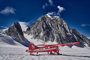 Фото Аляска Зимние Самолеты Утес