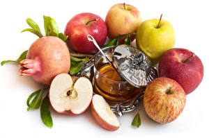 Обои Яблоки Гранат Мед Белый фон Пища