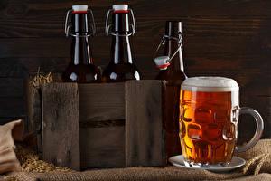 Обои Пиво Бутылка Кружке Пене Пища