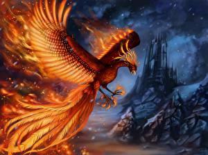 Фото Птицы Феникс Волшебные животные Крылья Животные