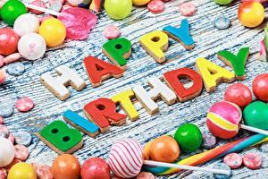 Обои День рождения Сладкая еда Конфеты Английский Слово - Надпись Еда