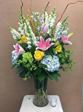 Картинки Букеты Розы Лилия Левкой Гортензия Ваза Цветы