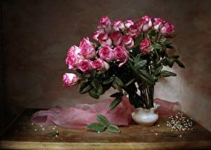 Картинки Букет Розы Ваза Листва Розовые Цветы
