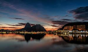 Фотография Бразилия Здания Пирсы Рио-де-Жанейро Залив Ночные Города