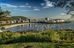 Фотографии Бразилия Здания Реки Пирсы Яхта Рио-де-Жанейро Города