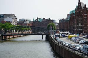 Обои Мосты Гамбург Германия Набережная Водный канал Города