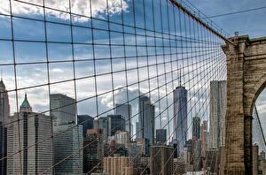 Картинка Мосты Штаты Здания Нью-Йорк Brooklyn Bridge Города