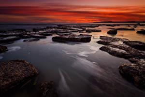 Фото Болгария Рассветы и закаты Берег Камень Природа