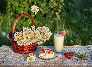 Фото Ромашка Молоко Клубника Пирожное Натюрморт Корзина Стакан Еда Цветы