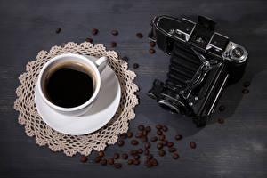 Картинка Кофе Чашка Зерна Фотокамера Продукты питания