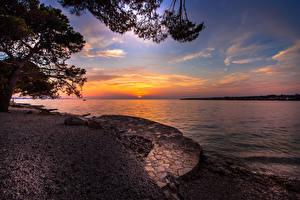Фотографии Хорватия Побережье Рассвет и закат Залива Природа