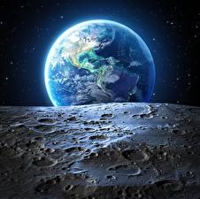 Фотографии Земли Луной