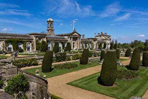 Фотографии Англия Здания Парки Дизайн Газон Кусты Bowood House Wiltshire Города