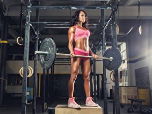 Фото Фитнес Шатенка Физические упражнения Штанга Девушки Спорт