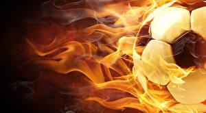 Фото Футбол Огонь Крупным планом Мяч Спорт