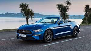 Картинка Форд Синих Кабриолет Mustang 2018 Ecoboost Convertible машины