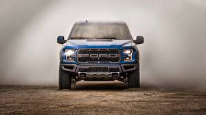Картинка Ford Спереди Синяя SuperCrew 2019 Raptor F-150 авто