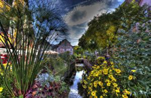 Картинка Франция Здания HDRI Водный канал Кусты Colmar Города