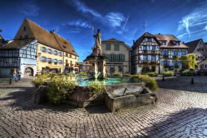 Картинки Франция Здания Фонтаны Памятники HDRI Городская площадь Eguisheim Alsac