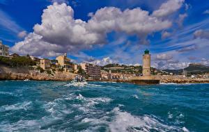 Фотографии Франция Здания Море Маяки Побережье Cassis Village Coast Города