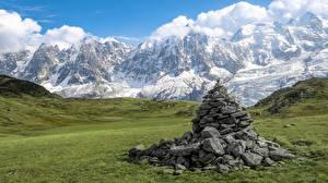 Фото Франция Горы Луга Камень Альпы Природа
