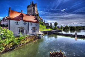 Фотографии Германия Замки Реки HDR Castle Sigmaringen