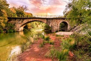 Фотография Греция Речка Мост Побережье Kyparissia Природа