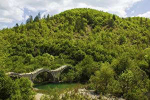 Картинки Греция Речка Мосты Леса Холмы Zagorochoria Природа
