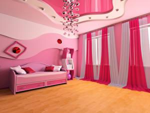 Обои Интерьер Детская комната Дизайна Диван Люстра Занавески Потолка