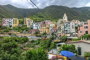 Обои Италия Чинкве-Терре парк Здания Горы Corniglia