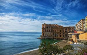 Картинки Италия Побережье Вилла Дома Залив Napoli Palazzo Donna-Anna Города