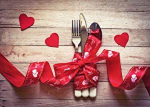 Картинки Ножик День святого Валентина Вилка столовая Ложка Лента Сердечко Доски