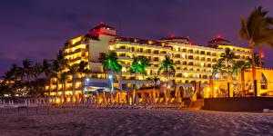 Фотография Мексика Дома Вечер Песка Пальмы Пляжи Puerto Vallarta город