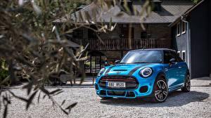 Фотография Mini Голубая Кабриолет Cabrio, John Cooper Works авто