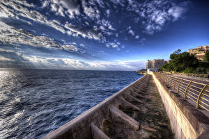 Фотографии Монте-Карло Монако Дома Дороги Небо HDRI Залив Города