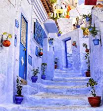 Обои Марокко Здания Улица Лестница Chaouen Города