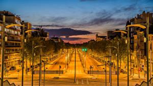Обои Нидерланды Здания Дороги Вечер Уличные фонари Antwerpen Города