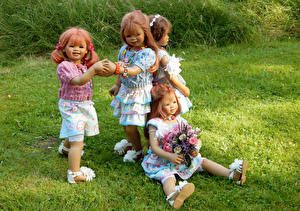 Фото Парки Букеты Кукла Девочки Трава Grugapark Essen