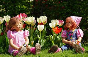 Фото Парк Тюльпан Куклы Двое Девочки Grugapark Essen