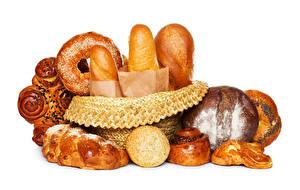 Картинки Выпечка Хлеб Булочки Белом фоне Еда