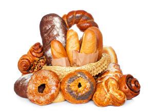 Фотографии Выпечка Булочки Хлеб Белом фоне Продукты питания