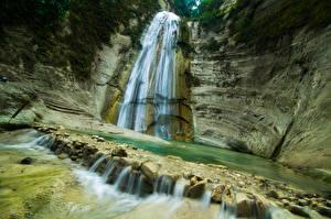 Обои Филиппины Водопады Утес Dao Falls