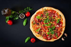 Фотографии Пицца Помидоры Базилик душистый Еда