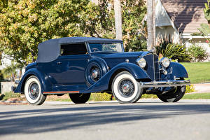 Фотография Ретро Синий Металлик 1934 Packard Eight Convertible Victoria by Dietrich Автомобили
