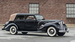 Фотографии Ретро Черный Металлик 1938 Packard Twelve All-Weather Cabriolet by Rollston Автомобили